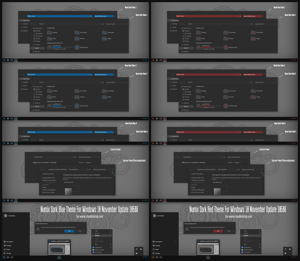 Max Mix Dark Blue and Red Theme Win10