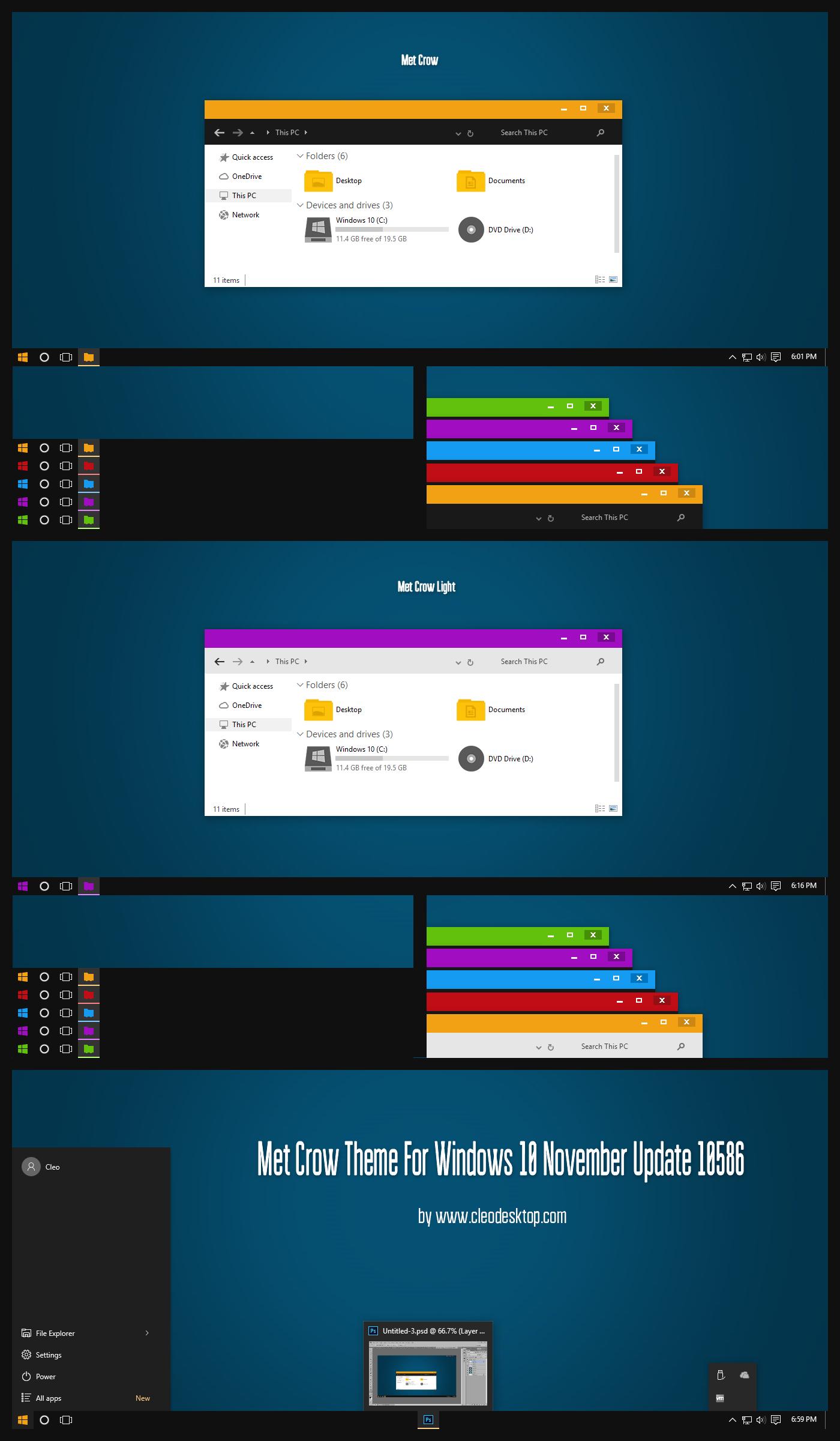 Met Crow Theme Windows 10 1511 Build 10586