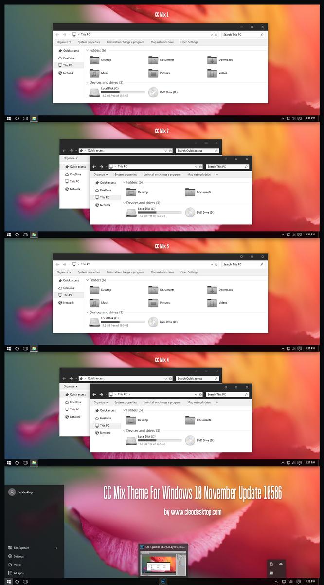 CC Mix Theme For Windows 10 Build 10586 aka 1511 by Cleodesktop