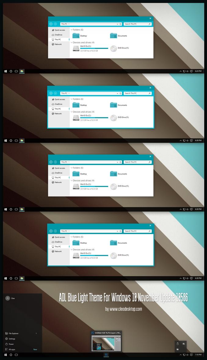 ADL Blue Light Theme For Windows 10 by Cleodesktop