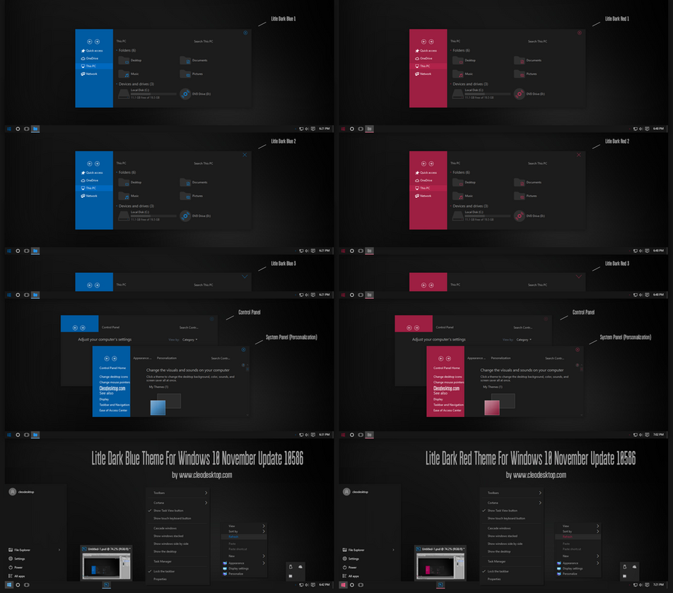 Litle Dark Blue and Red Theme for Win10 - SkinPack