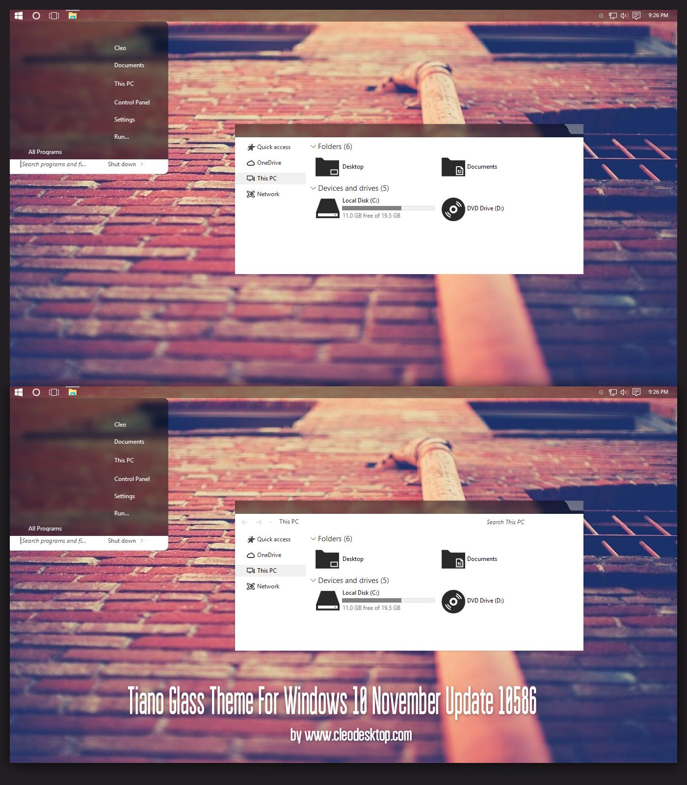Tiano Glass Theme Windows 10 TH2 Build 10586 aka 1