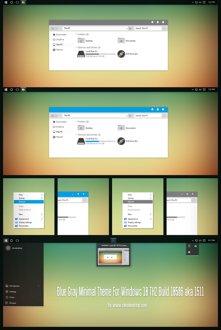 Blue Gray Minimal Theme for Win10