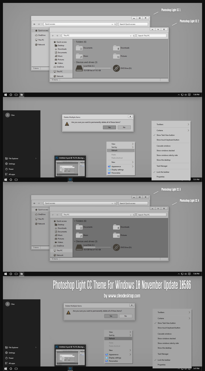Photoshop CC Dark and Light Theme for Win10