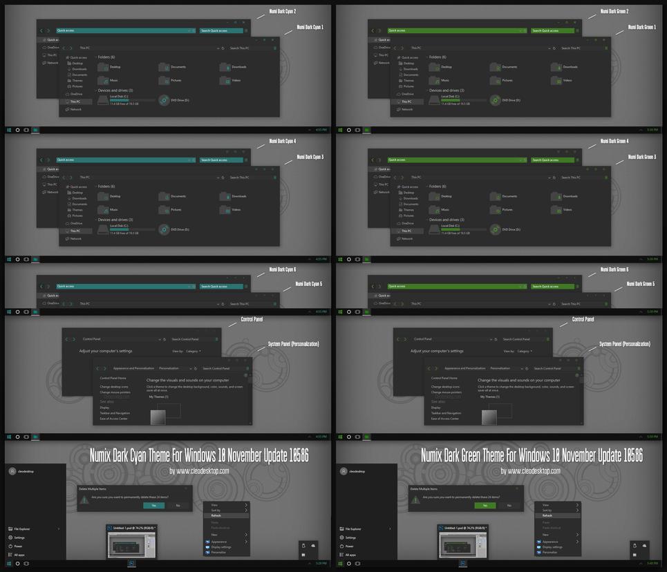 Numix Dark Cyan and Green Theme for Win10 - SkinPack - Customize