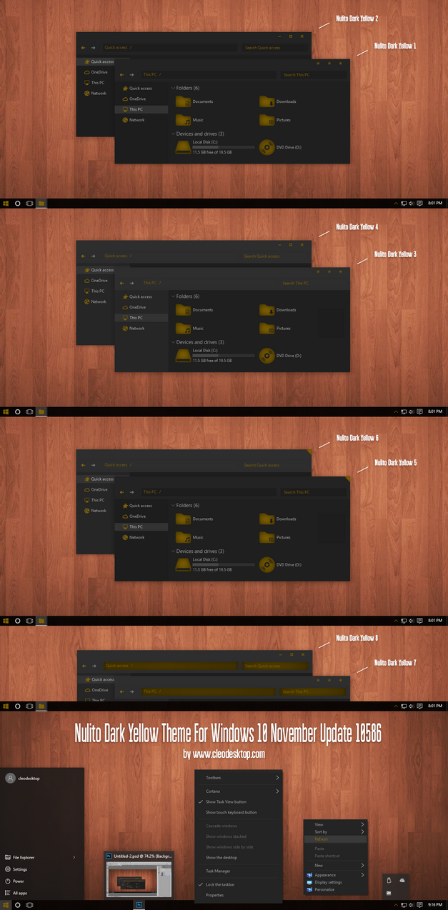 Nulito Dark Yellow Theme for Win10