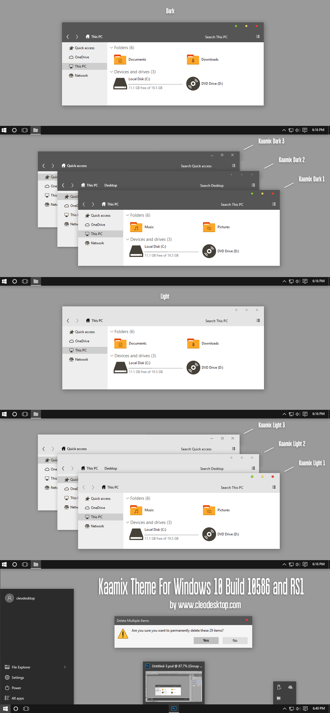 Kaamix Theme Win10 Insider Preview RS1 by Cleodesktop