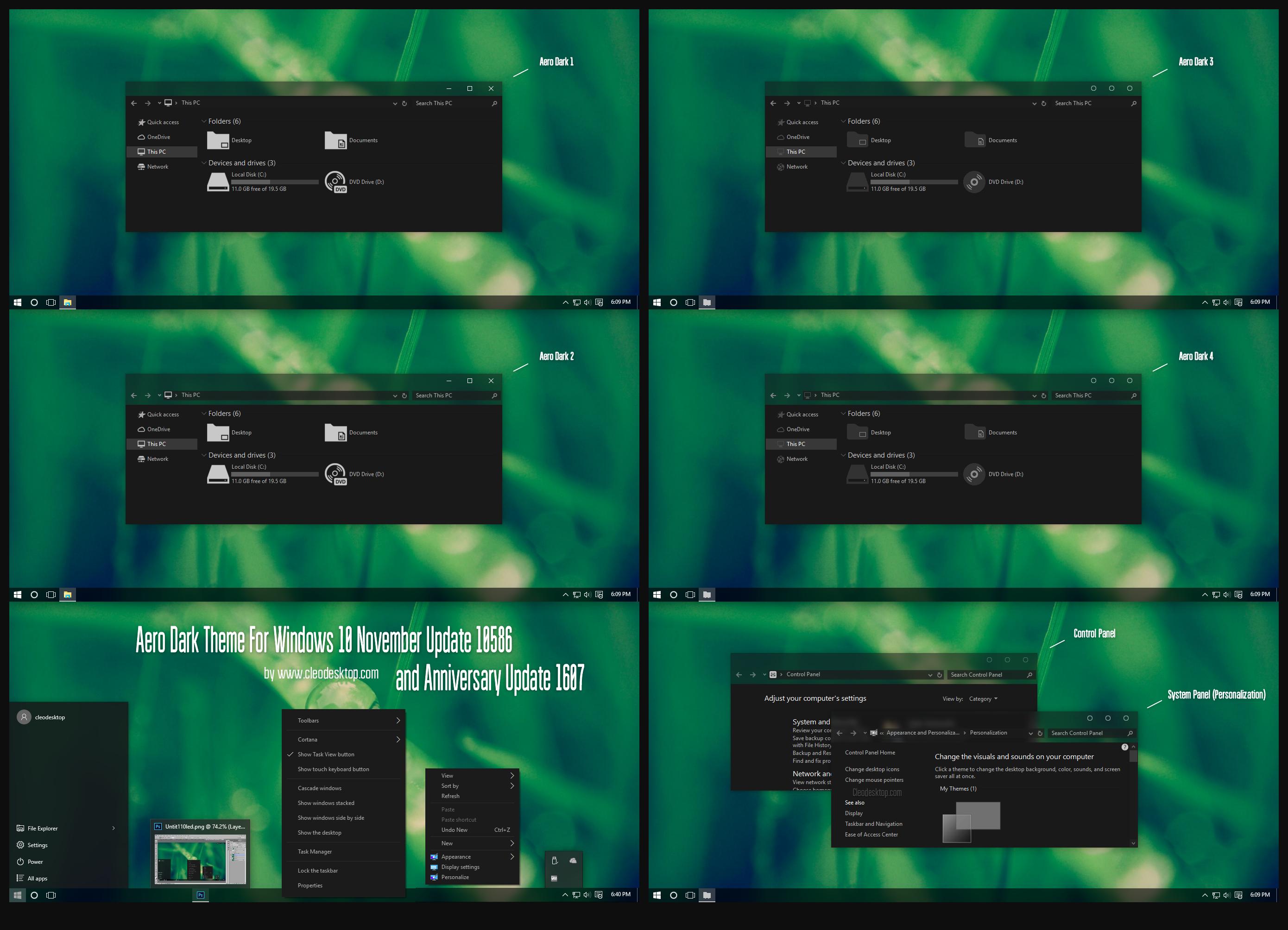 Aero Dark Theme Windows10 Anniversary Update