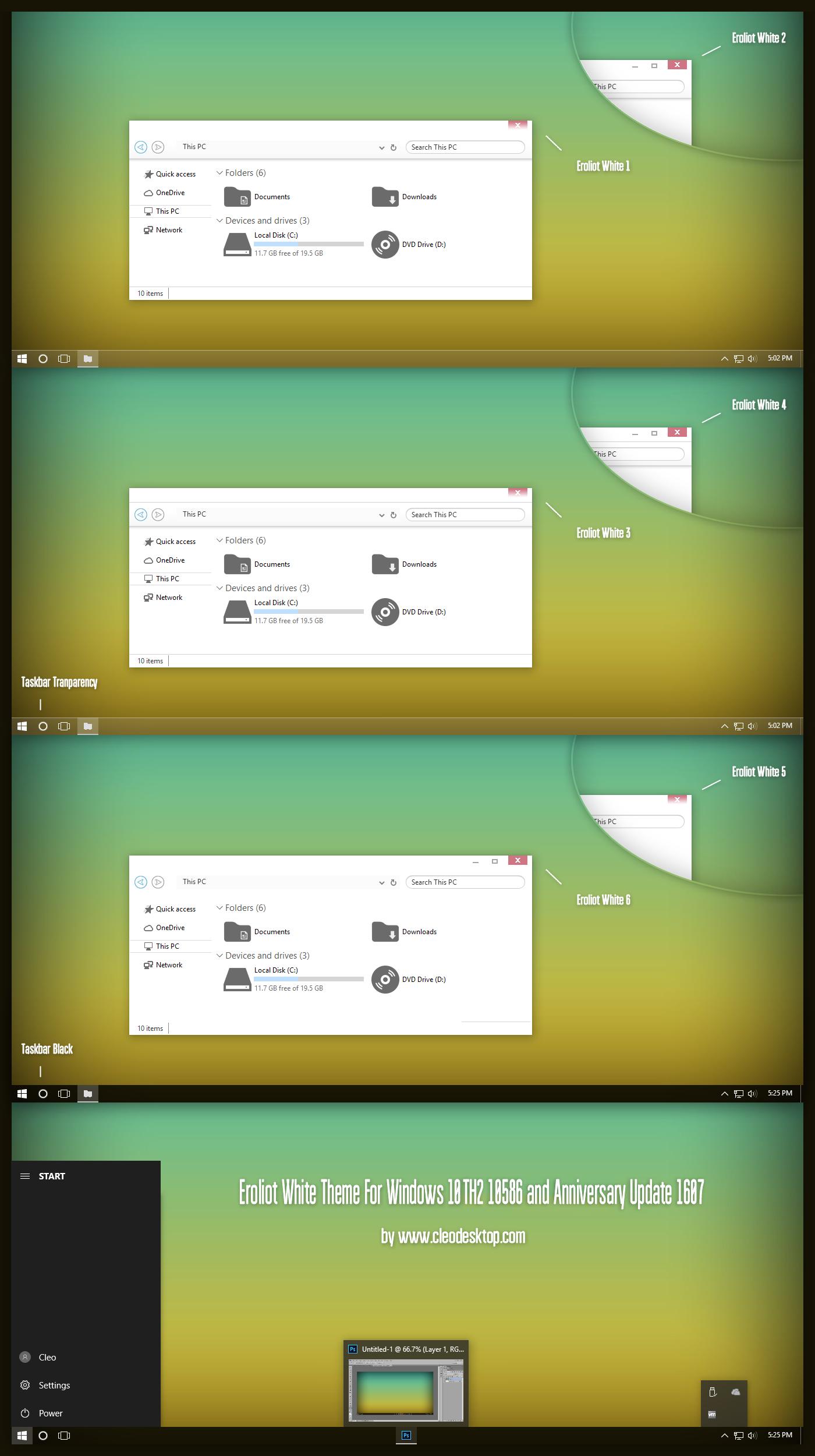 Eroliot White Theme For Win10 Anniversary Update by Cleodesktop