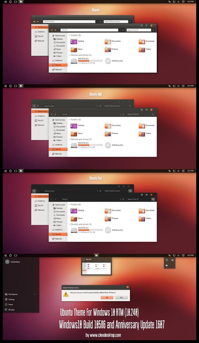 Ubuntu Theme Windows10 Anniversary Update1 by Cleodesktop