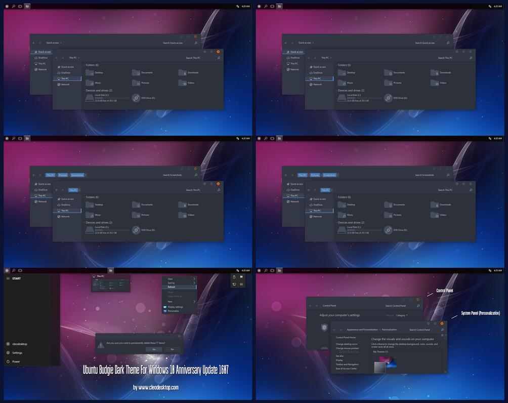 Ubuntu Budgie Dark Theme Win10 Anniversary Update by Cleodesktop
