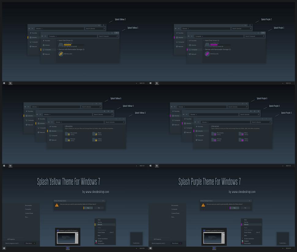 Black Pink Windows Wallpaper: Splash Yelllow And Purple Theme For Windows 7 By