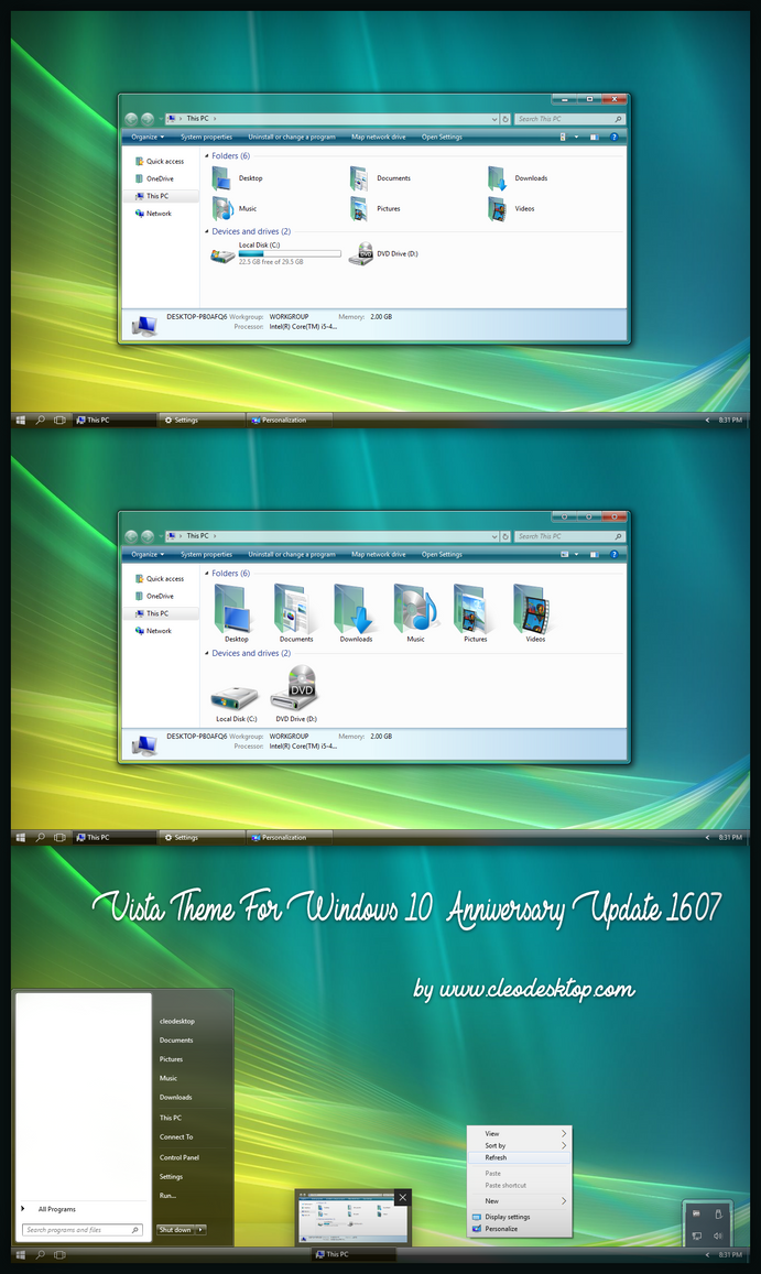 Vista Aero Theme Win10 Anniversary Update by Cleodesktop