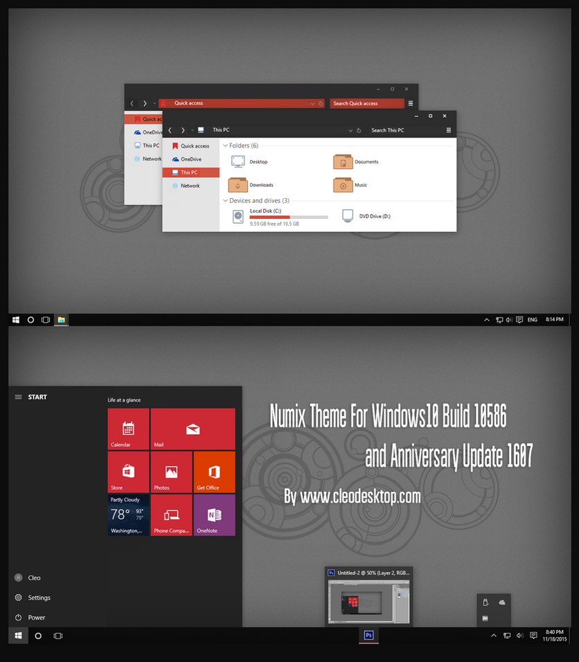 Numix Theme Windows10 Anniversary Update4 by Cleodesktop
