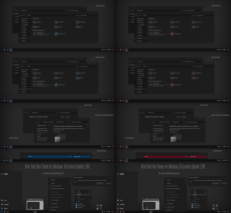 After Dark Blue, Red Theme Win10 Creators Update