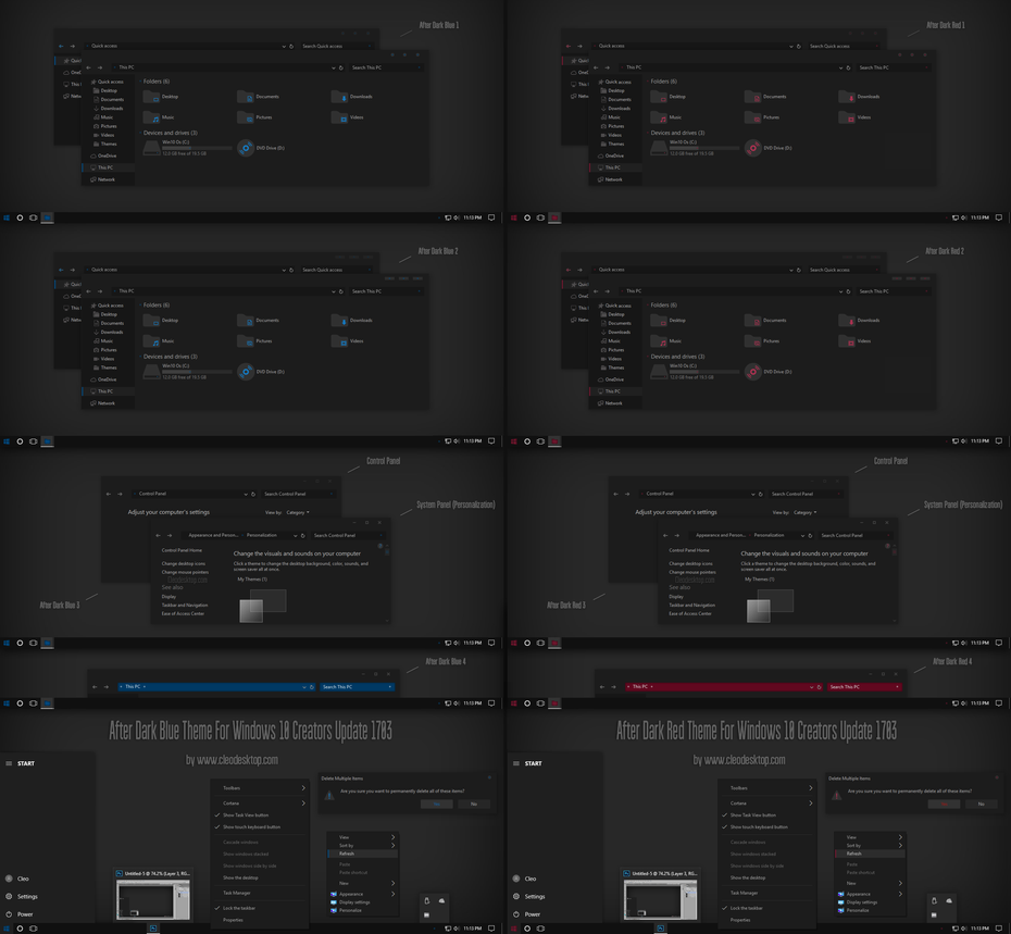 After Dark Blue, Red Theme Win10 Creators Update by Cleodesktop