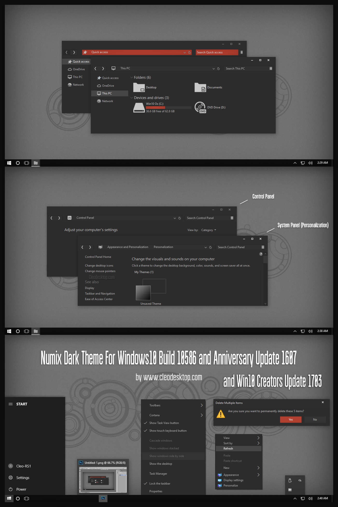 Numix Dark Theme Win10 Creators Update