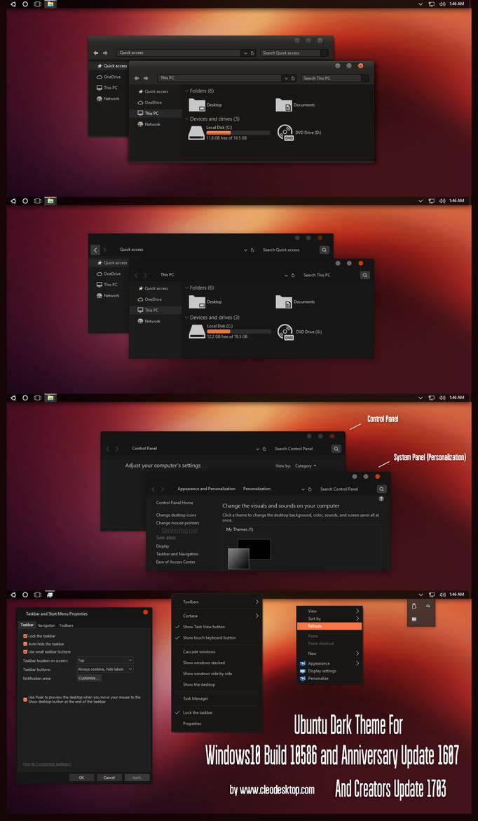 Ubuntu Dark Theme Win10 Creators Update by Cleodesktop
