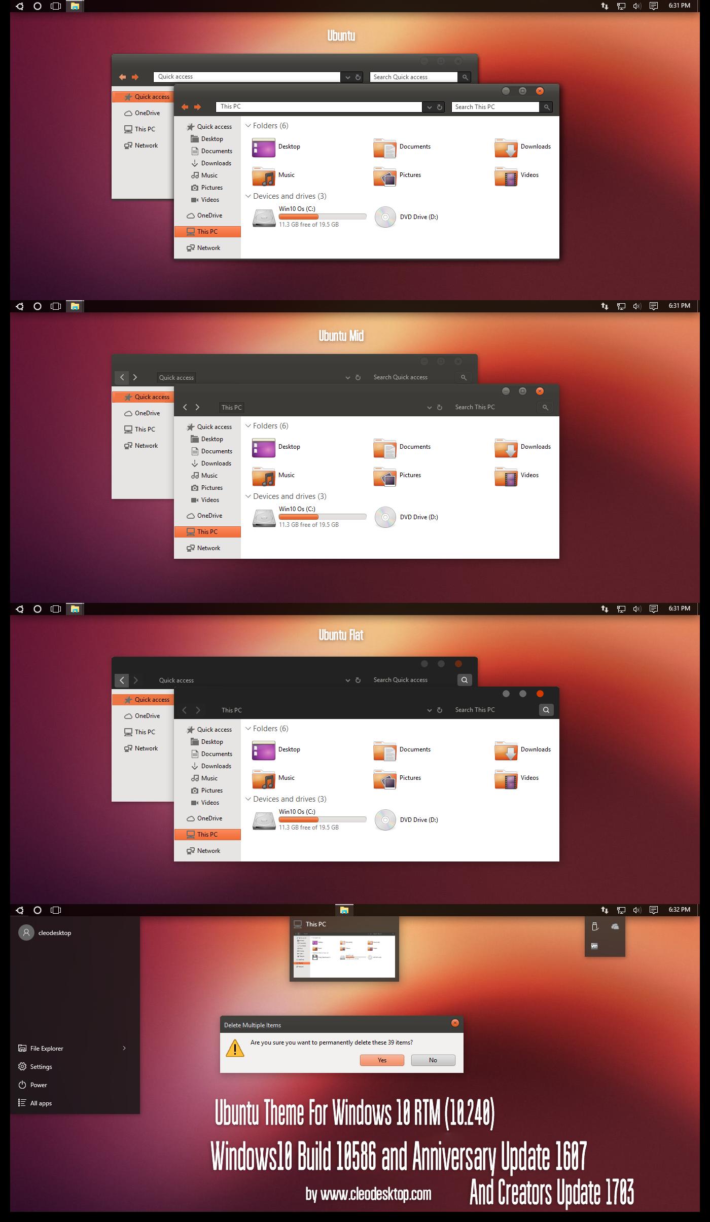 Ubuntu Theme Win10 Creators Update