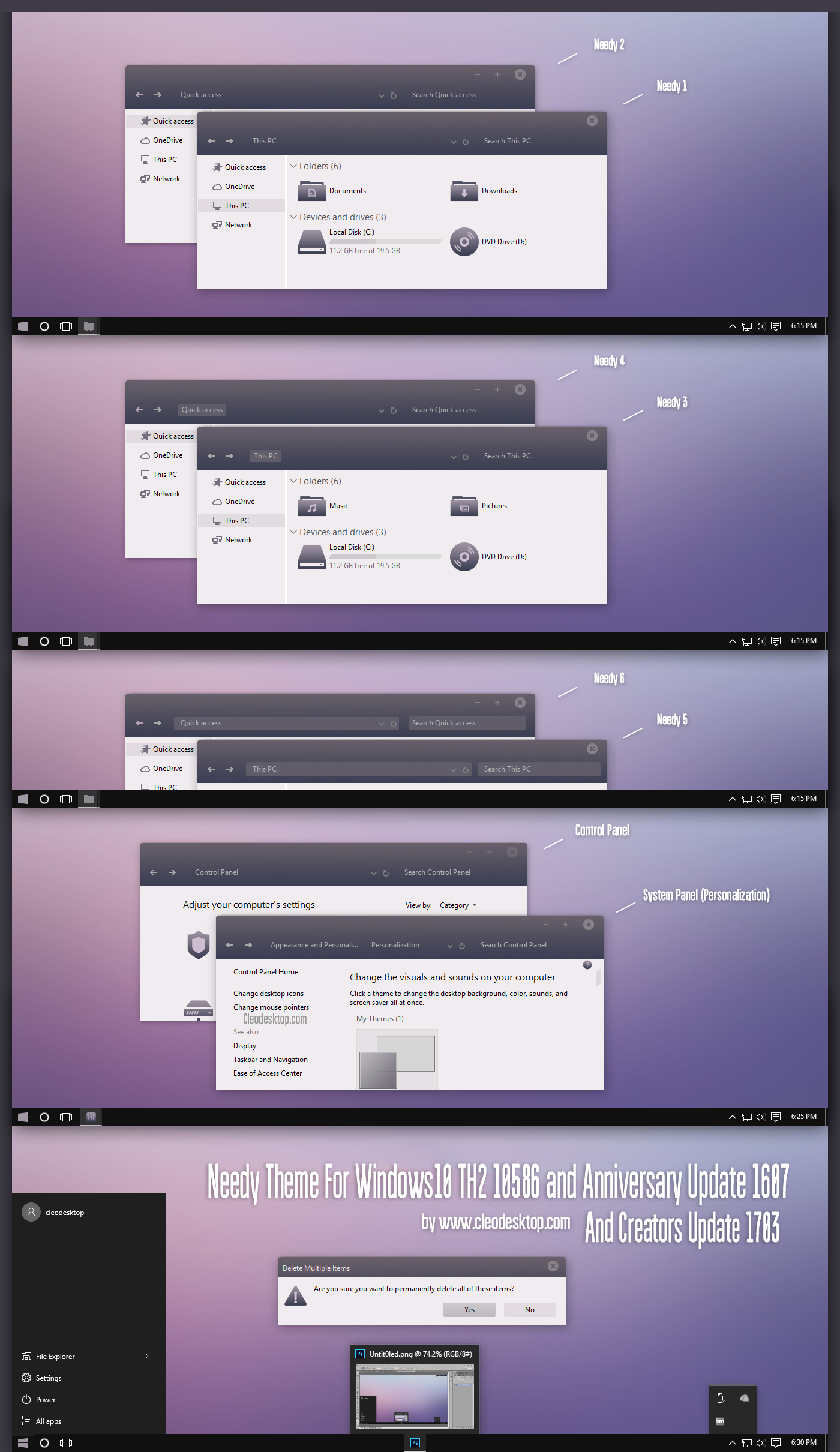 Needy Theme Win10 Creators Update by Cleodesktop