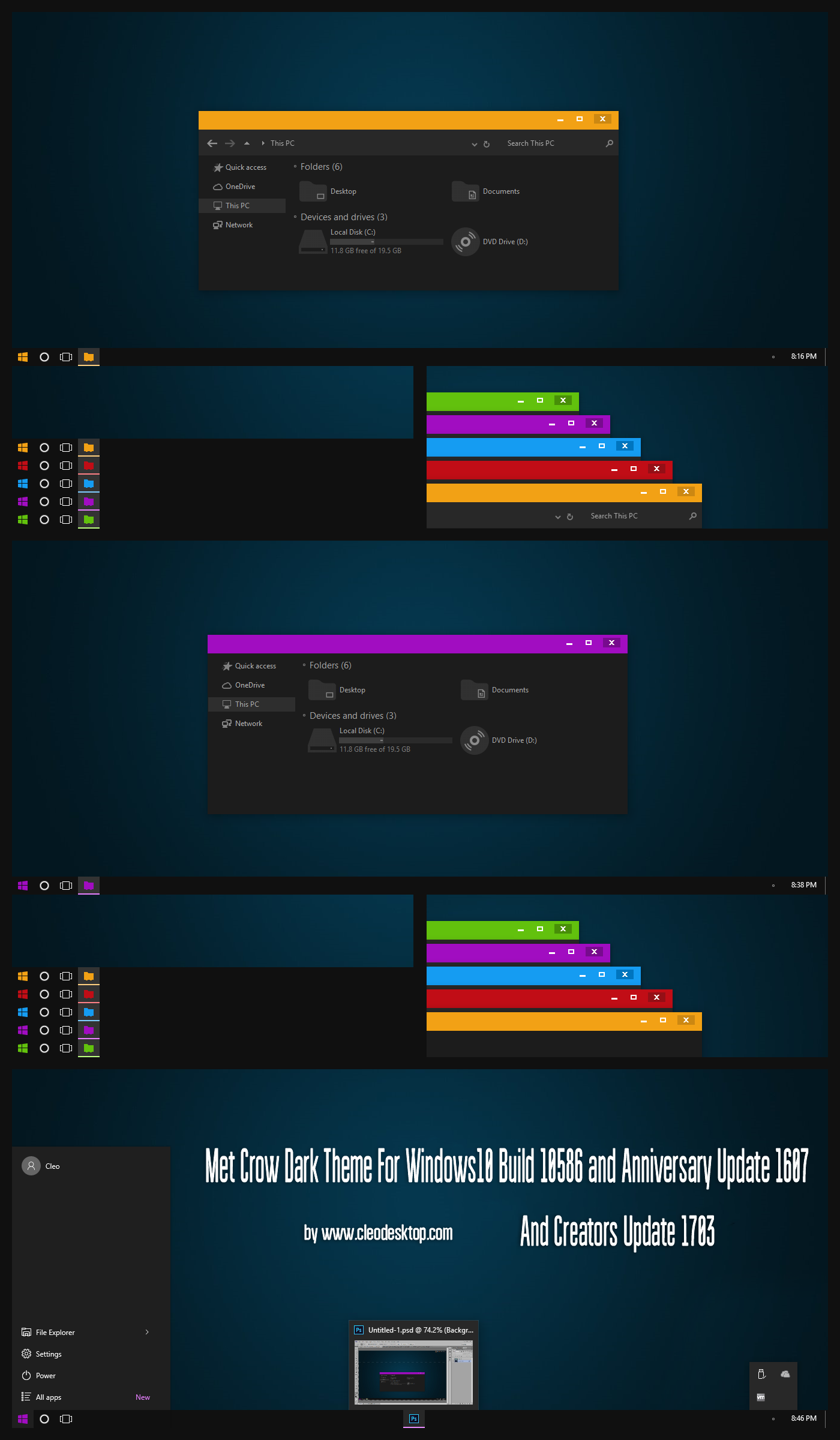Met Crow Dark Theme Win10 Creators Update by Cleodesktop