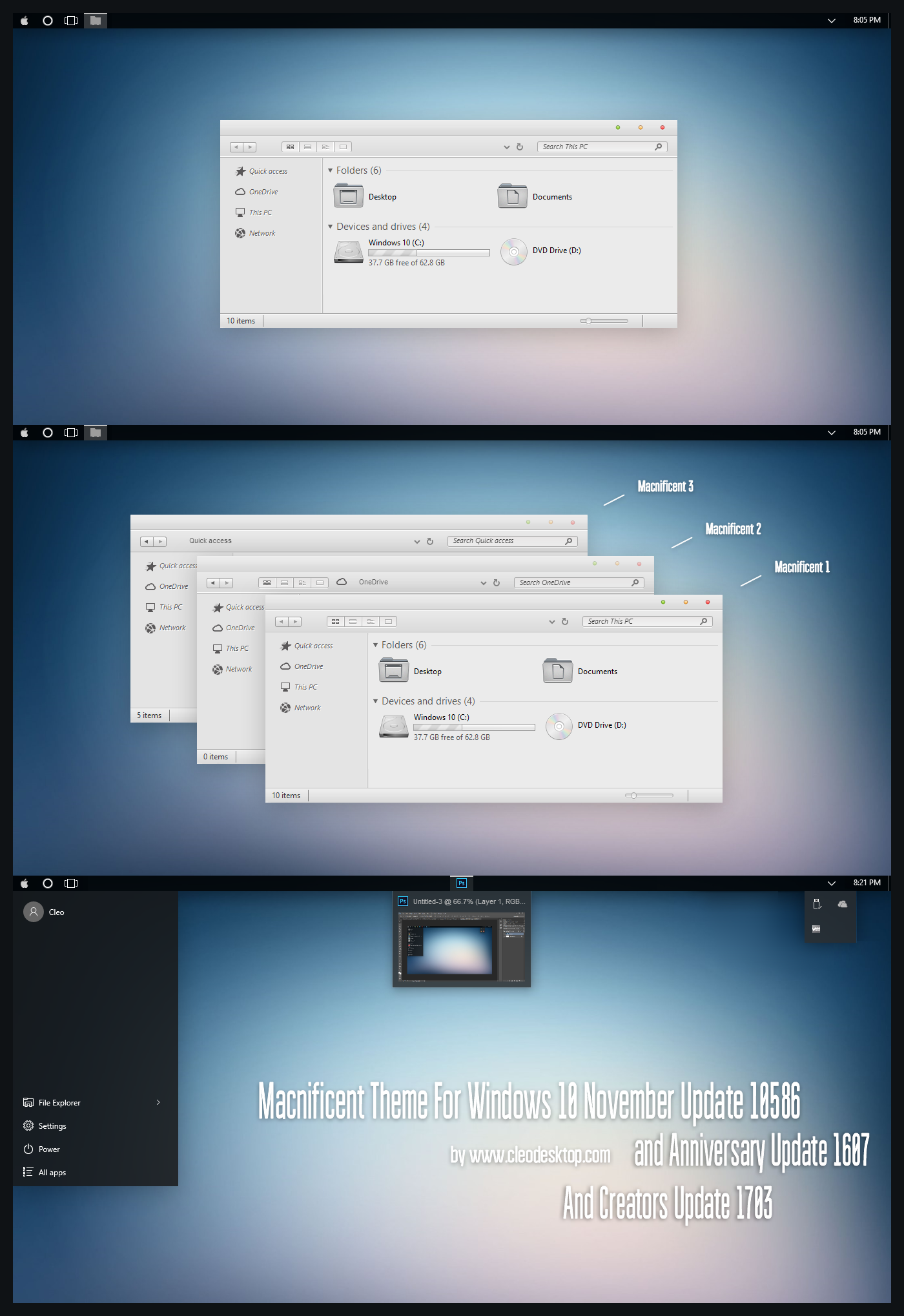 Macnificent Theme Win10 Creators Update by Cleodesktop