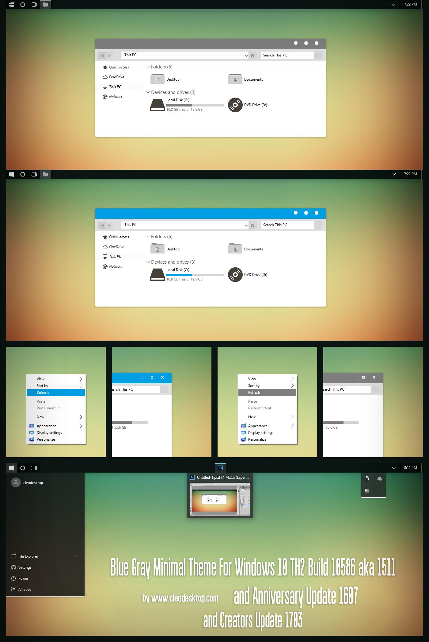 Blue Gray Minimal Theme Win10 Creators Update by Cleodesktop