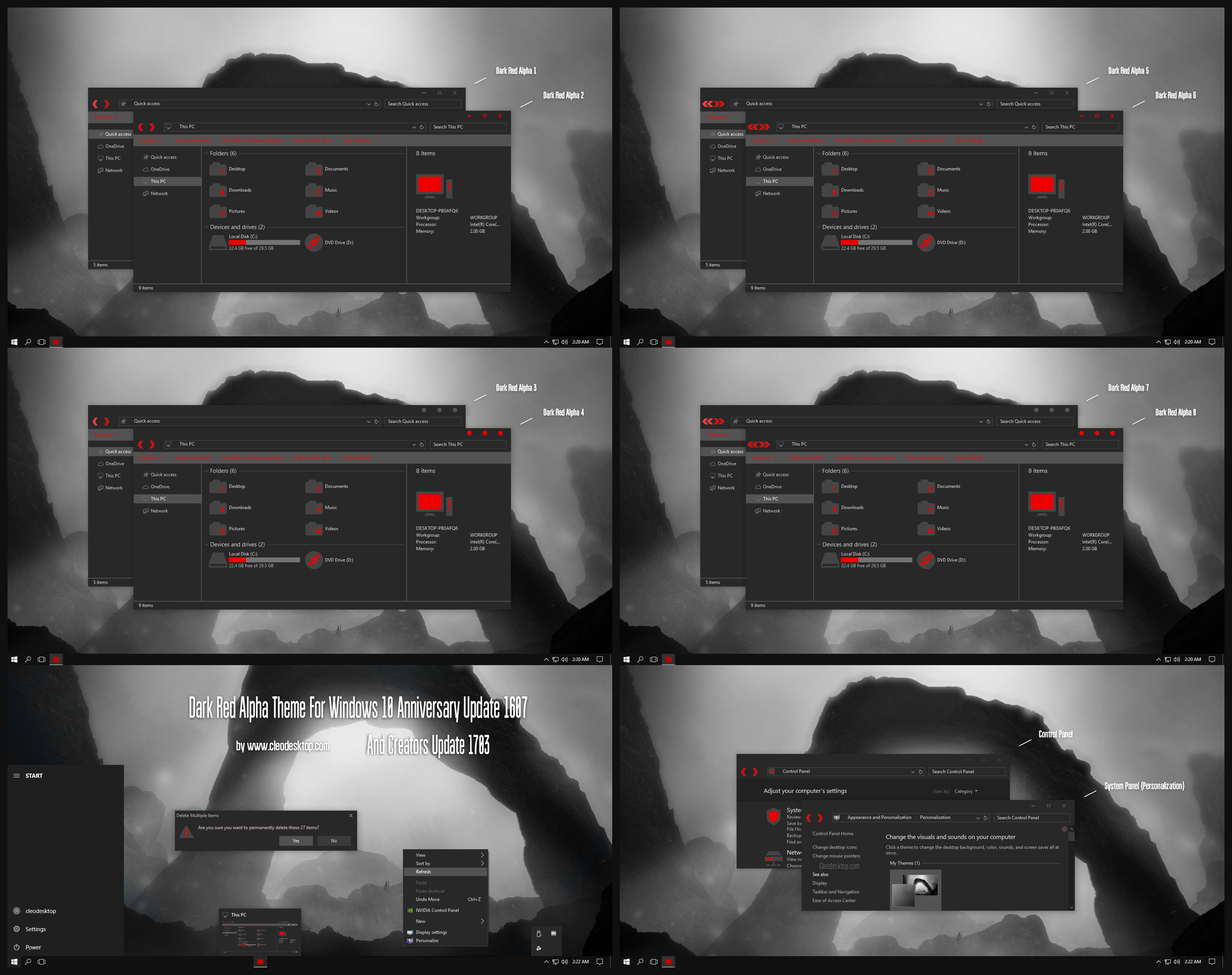 Dark Red Alpha Theme Win10 Creators Update 1703