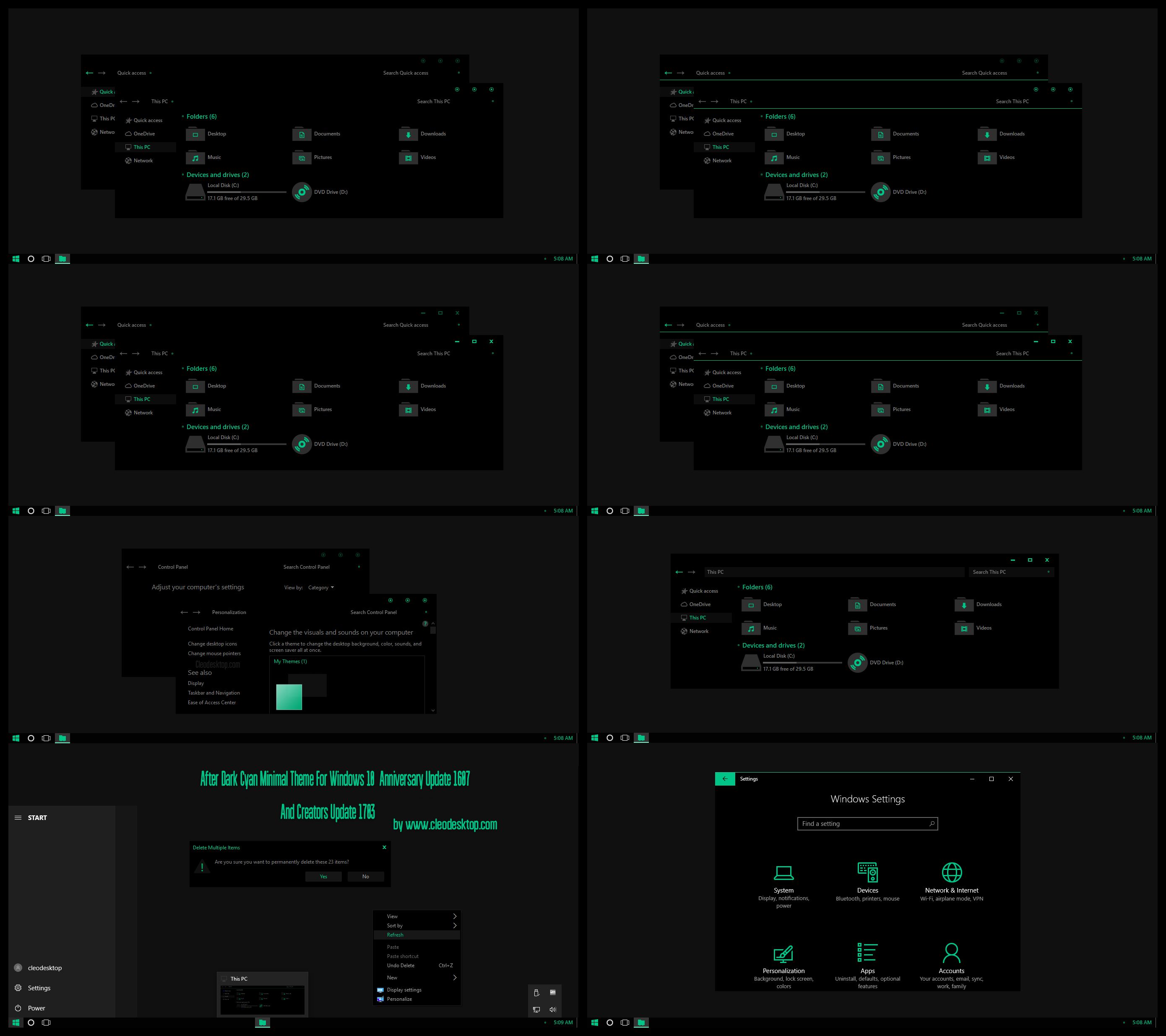 full black green theme for windows 10 by cleodesktop