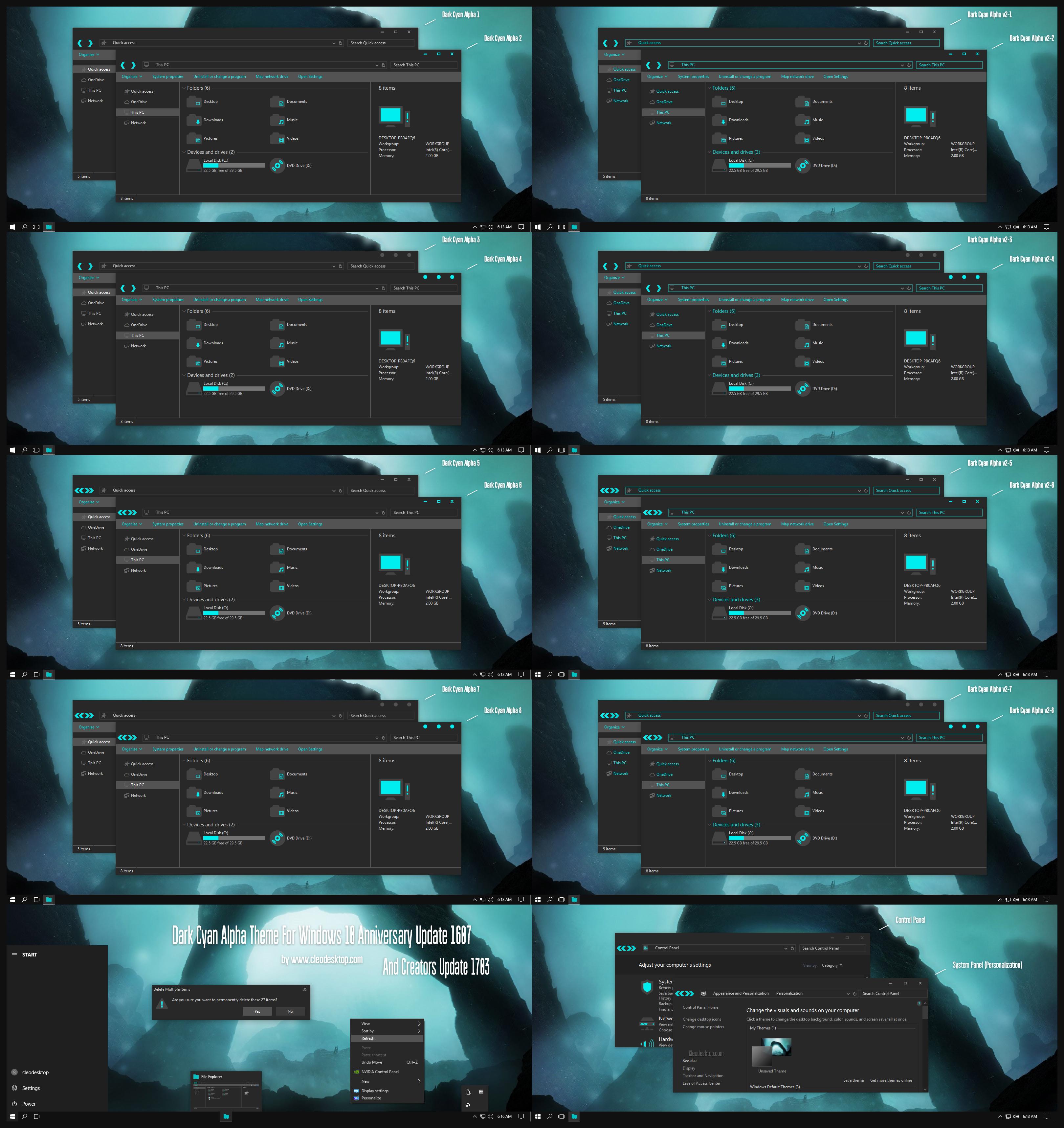 Dark Cyan Alpha Theme Win10 Creators Update