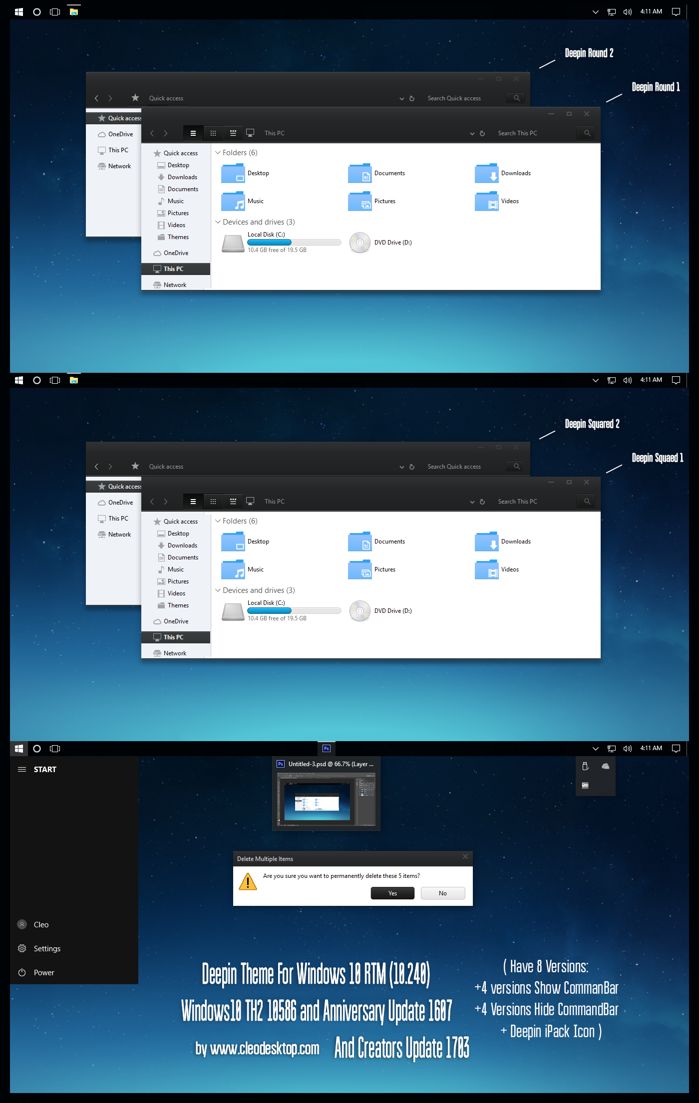 Deepin Theme Win10 Creators Update by Cleodesktop