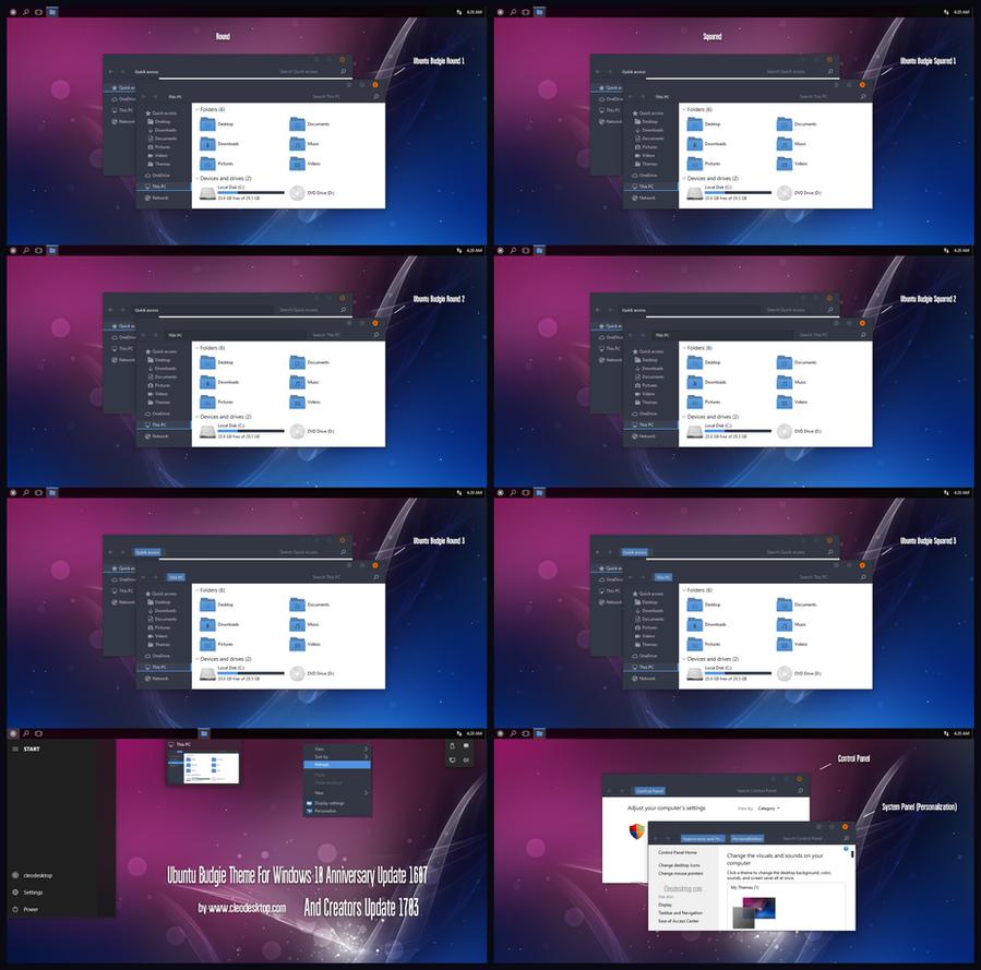 Ubuntu Budgie Theme Win10 Creators Update by Cleodesktop