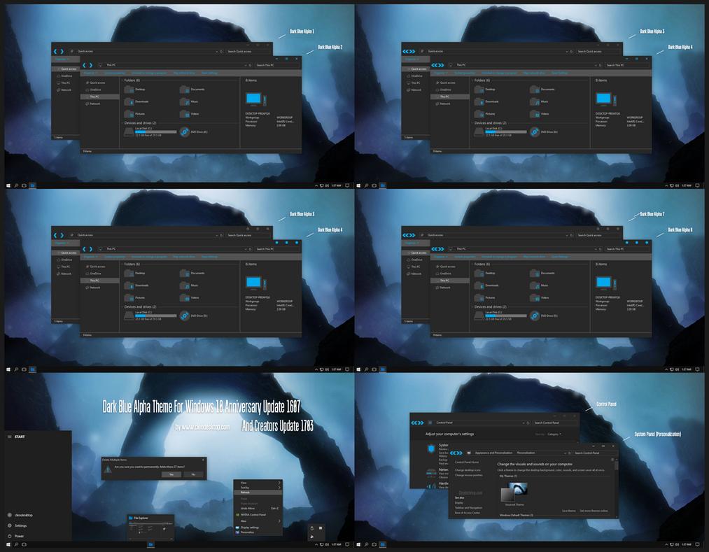 Dark Blue Alpha Theme Win10 Creators Update by Cleodesktop