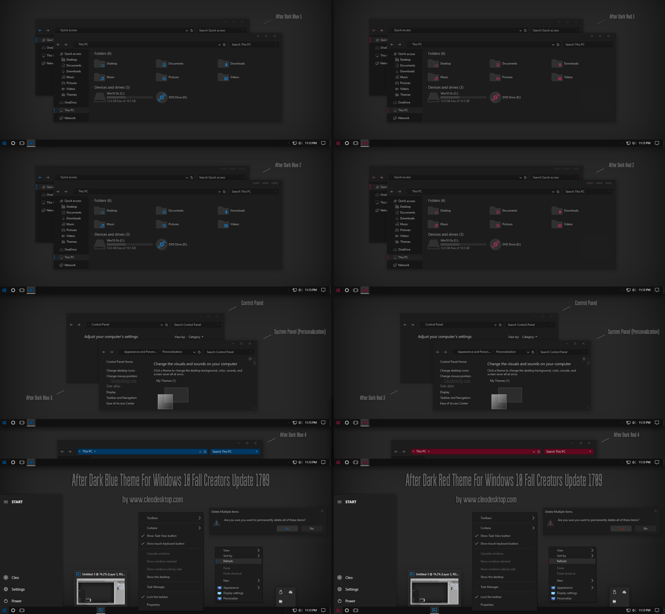 After Dark Blue and Red Theme Win10 Fall Creators