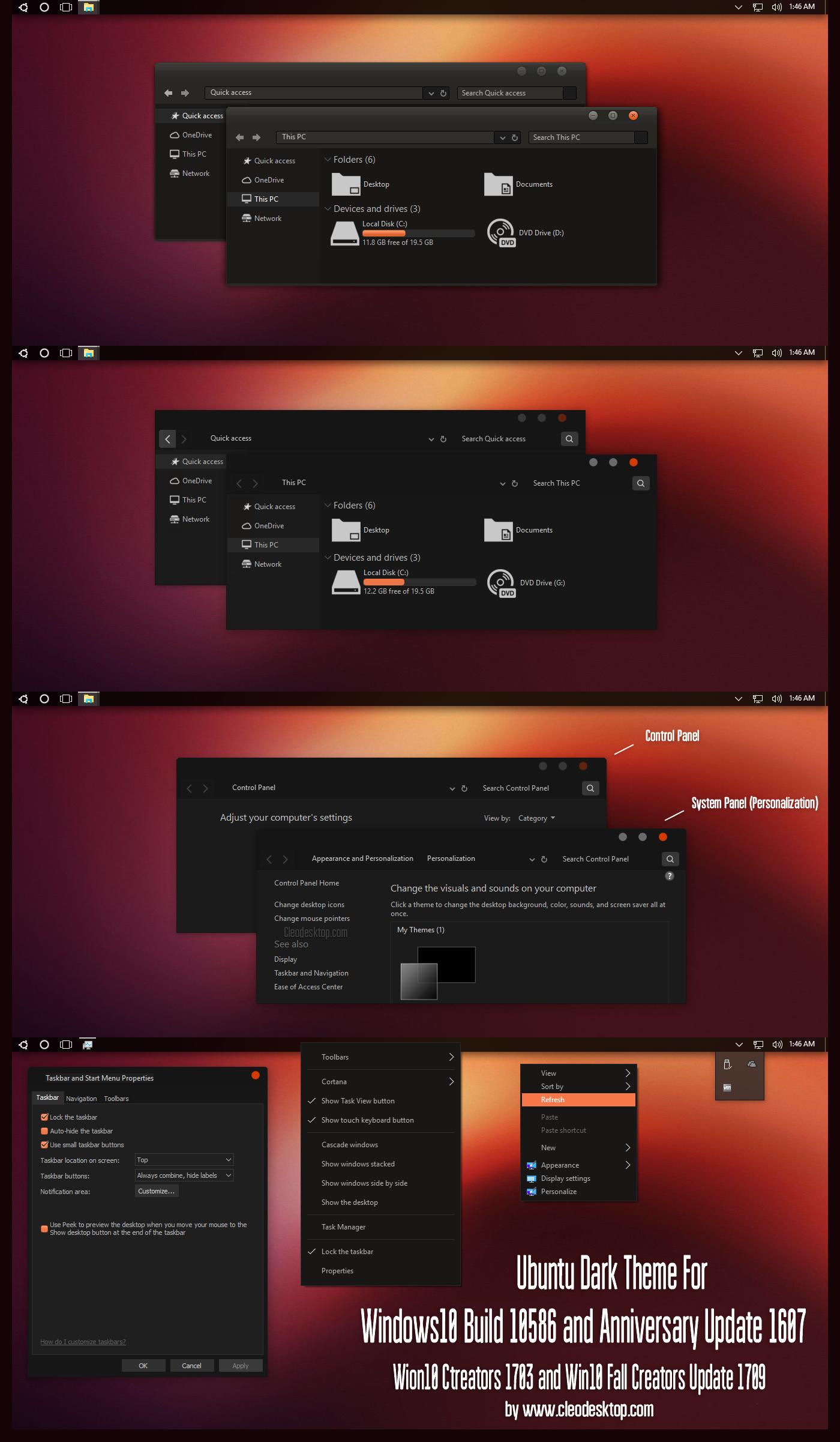 Ubuntu Dark Theme Win10 Fall Creators by Cleodesktop