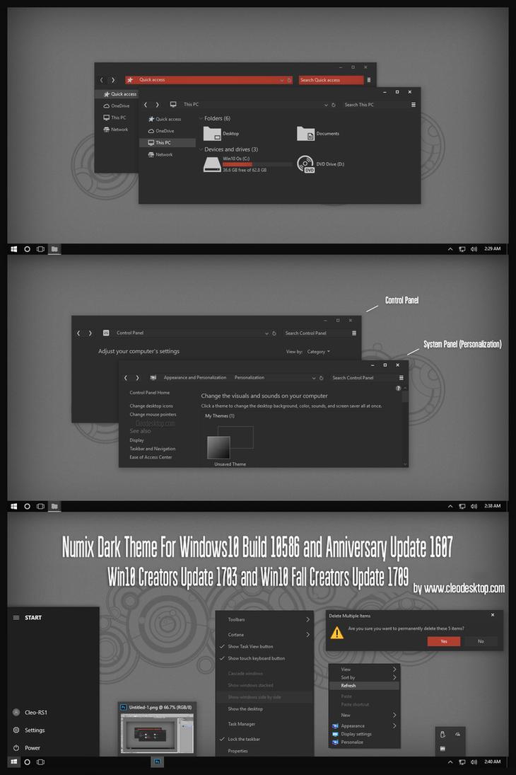 Numix Dark Theme Win10 Fall Creators by Cleodesktop