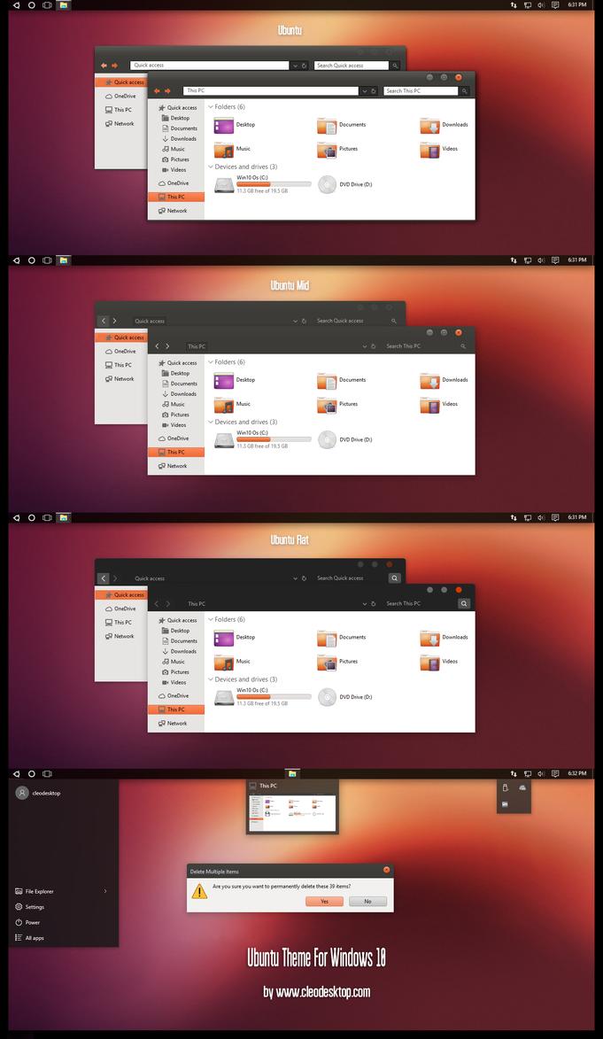 Ubuntu Theme Win10 Fall Creators by Cleodesktop