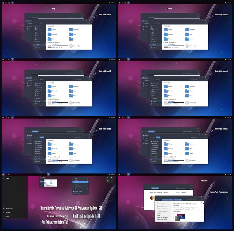 Ubuntu Budgie Theme Win10 Fall Creators by Cleodesktop