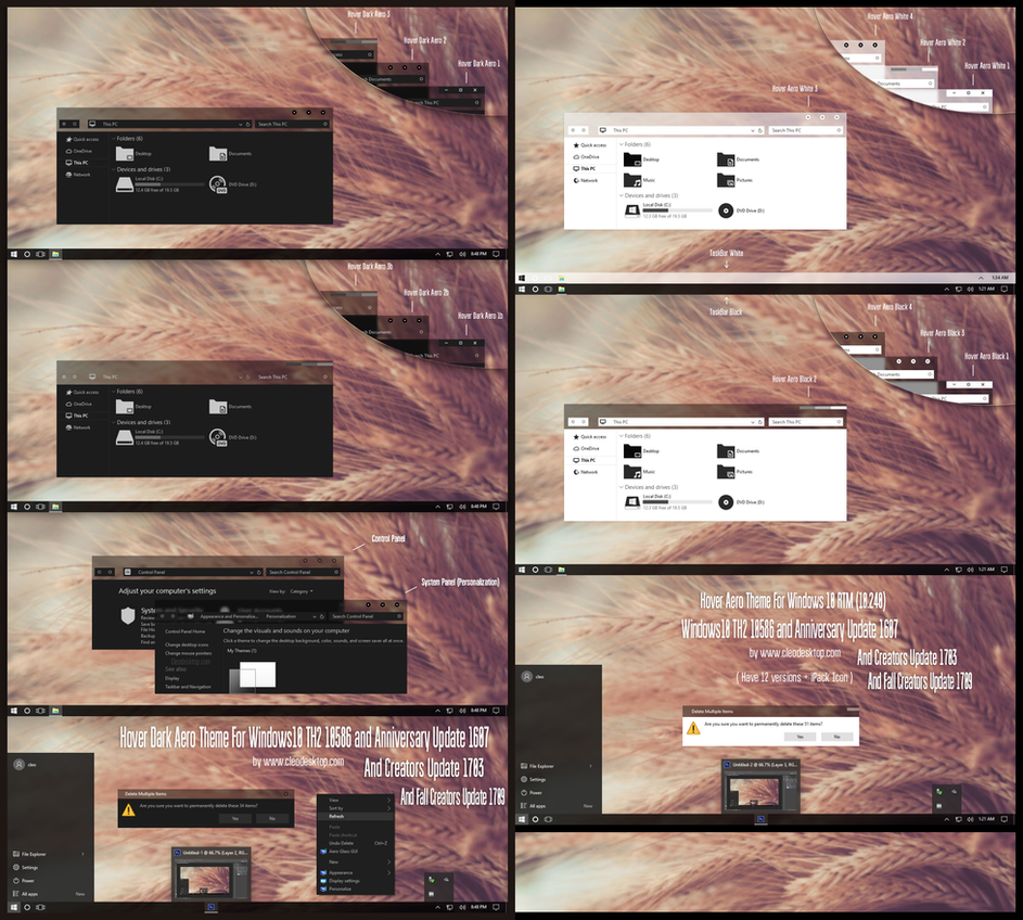 Hover Aero Dark and Light Theme Win10 Fall by Cleodesktop
