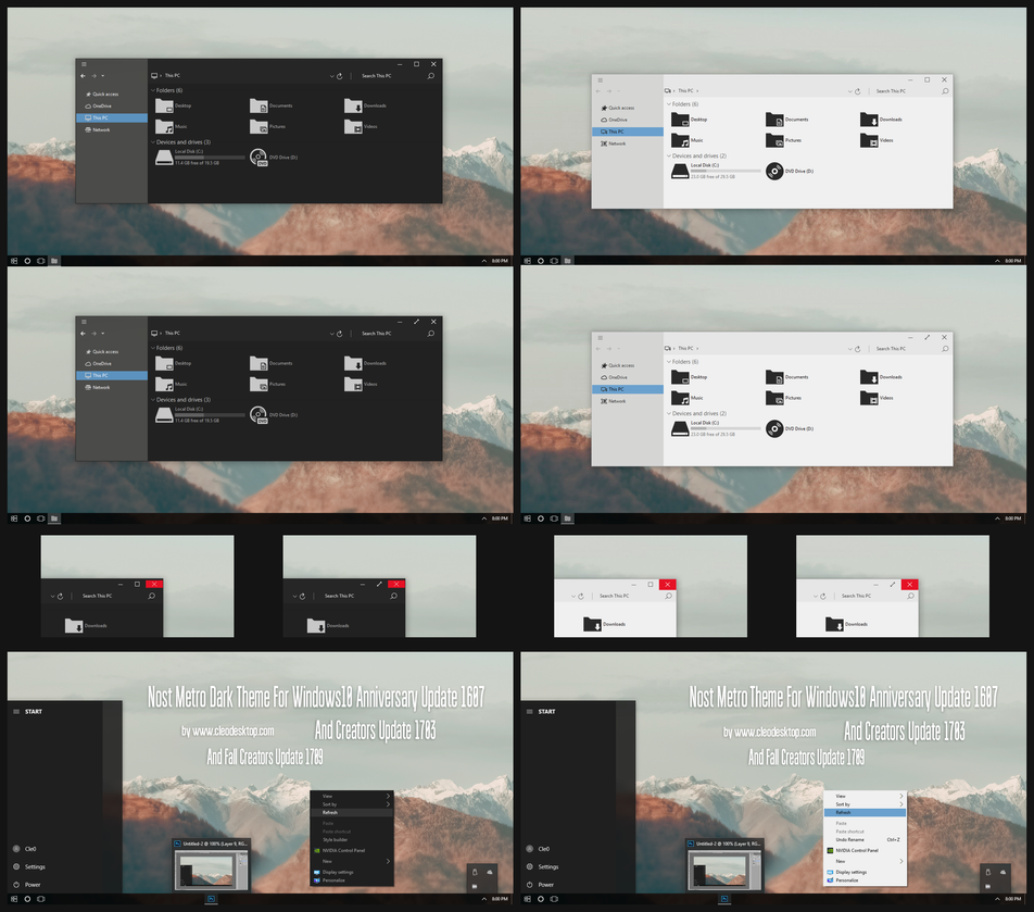 Nost Metro Dark and Light Theme Win10 Fall Creator by Cleodesktop