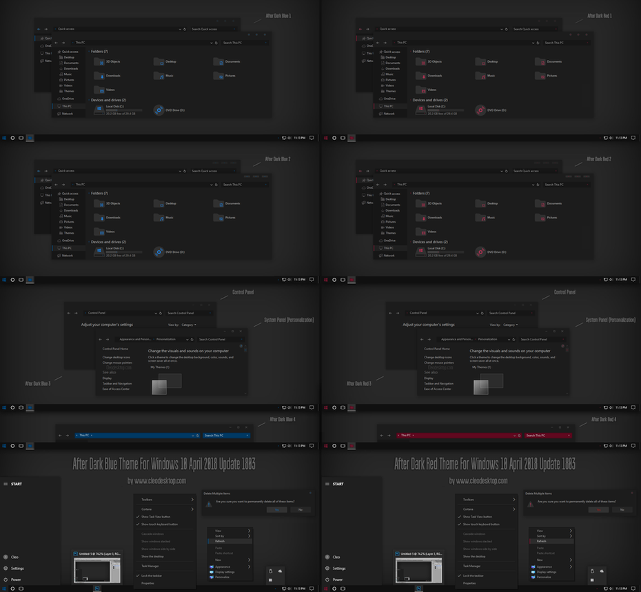 After Dark Blue, Red ThemeWin10 April 2018 Update by Cleodesktop