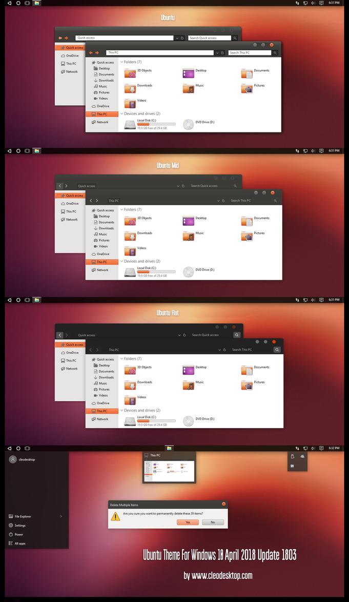 Ubuntu Theme Win10 April 2018 Update by Cleodesktop