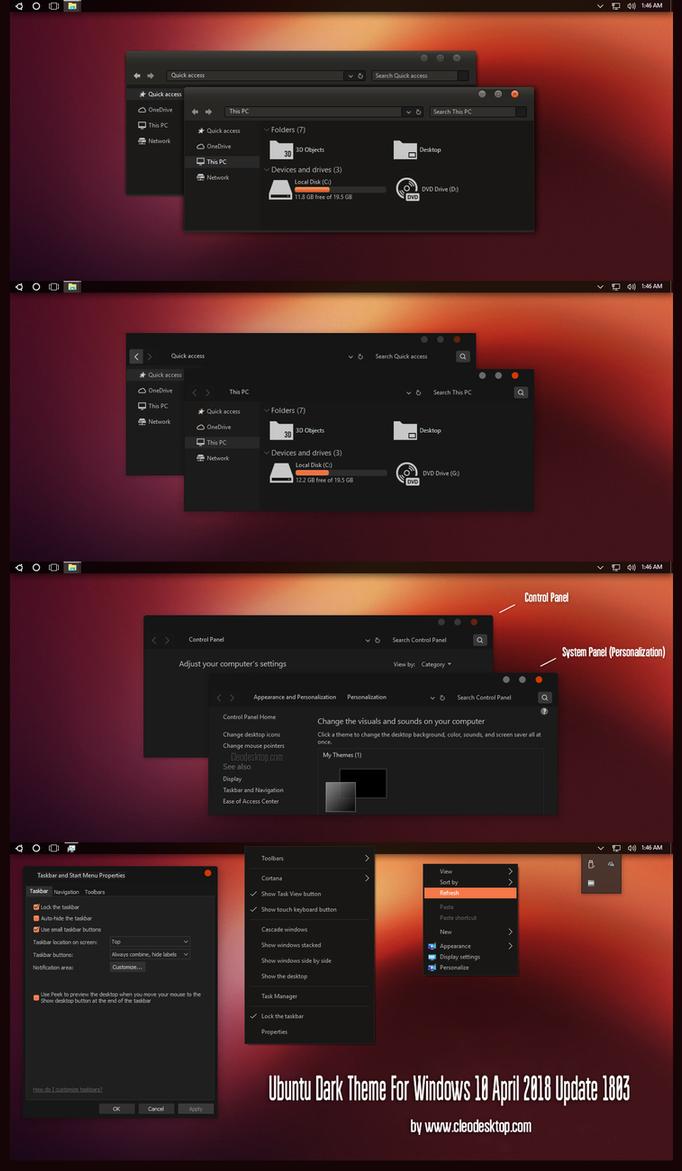 Ubuntu Dark Theme Win10 April 2018 Update by Cleodesktop