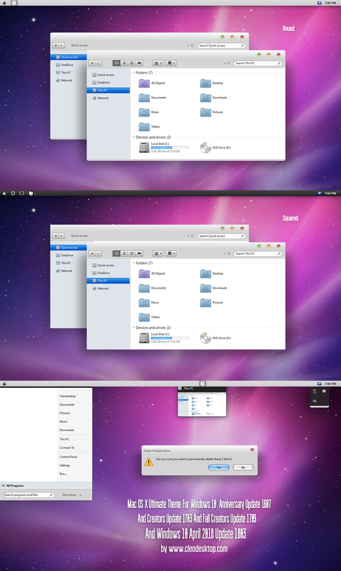 Mac OS X Ultimate Theme Win10 April 2018 Update by Cleodesktop