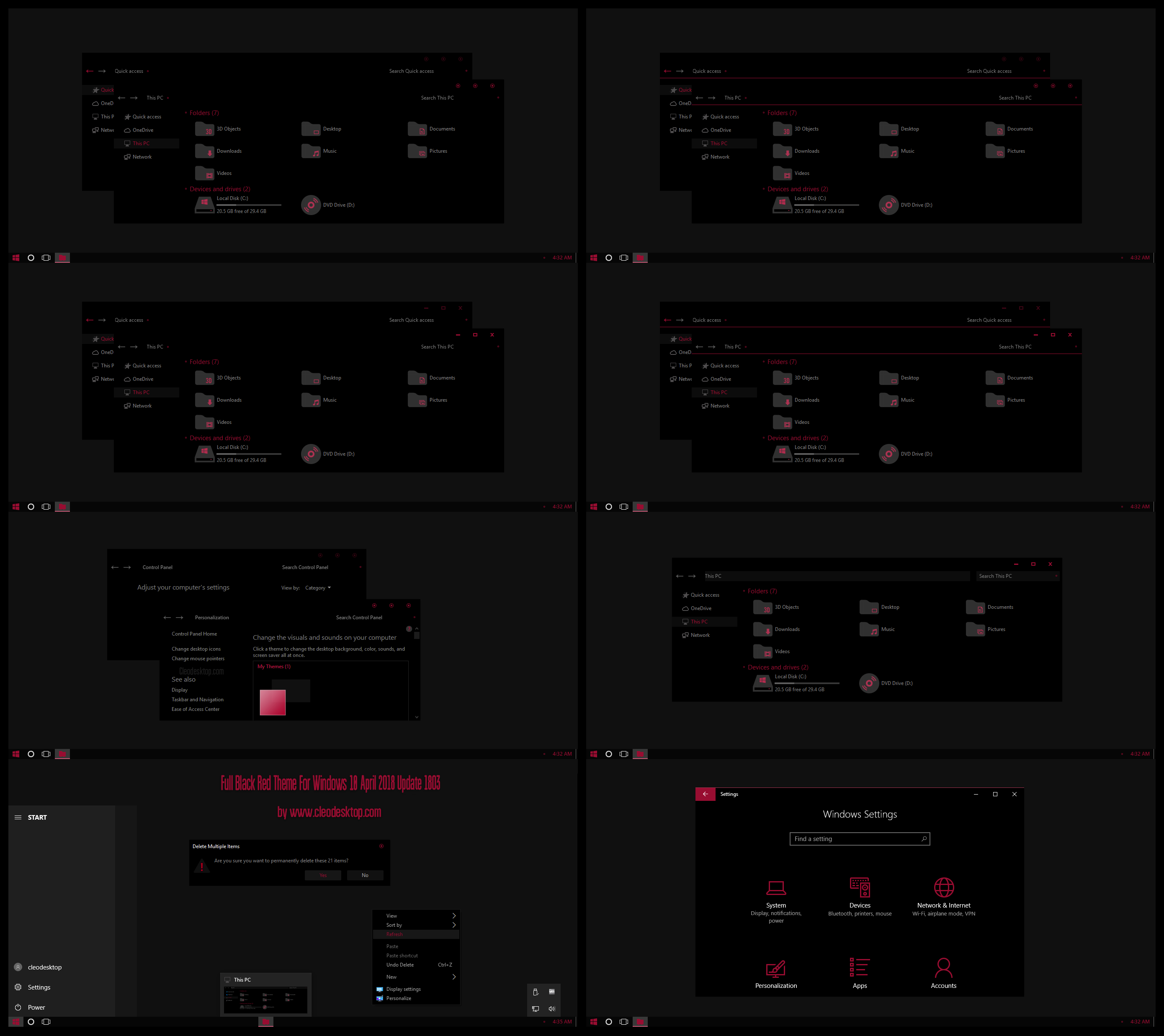 Full Black Red Theme Win10 April 2018 Update By
