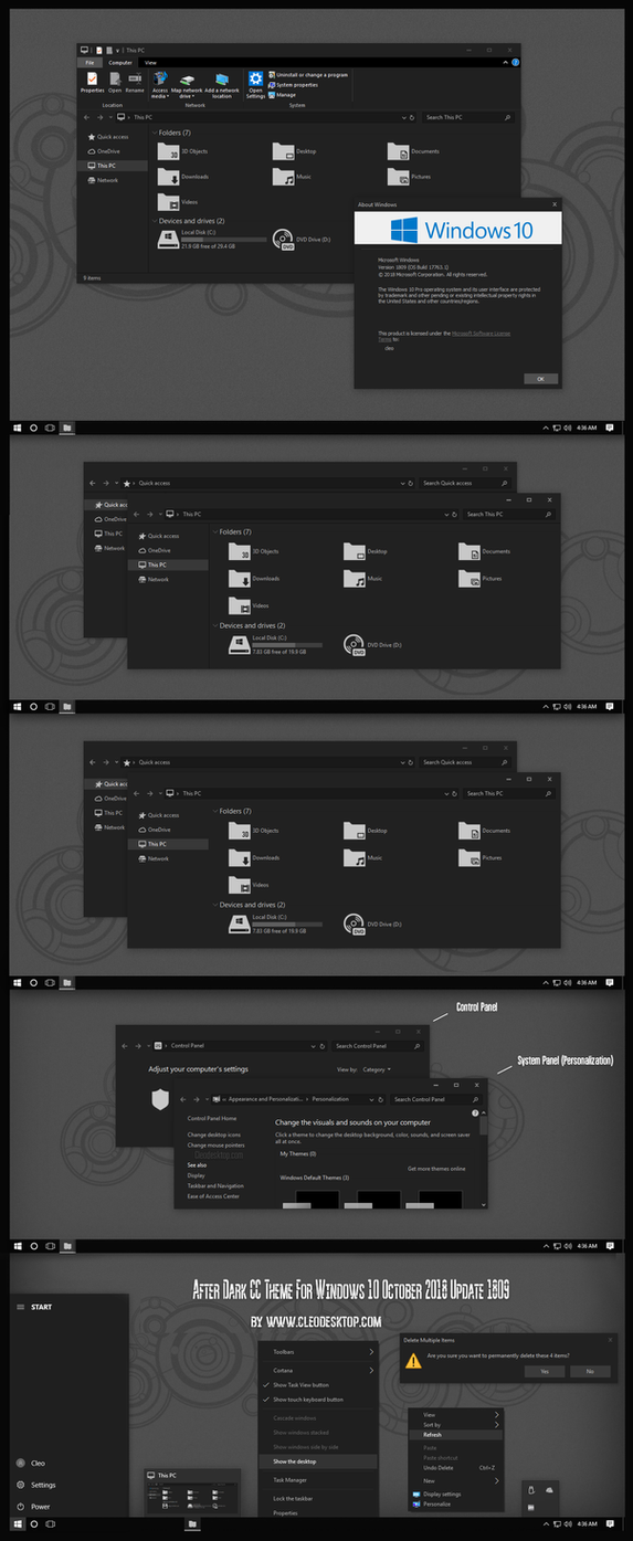 Theme For Windows 10 October 2018 Update 1809 by Cleodesktop
