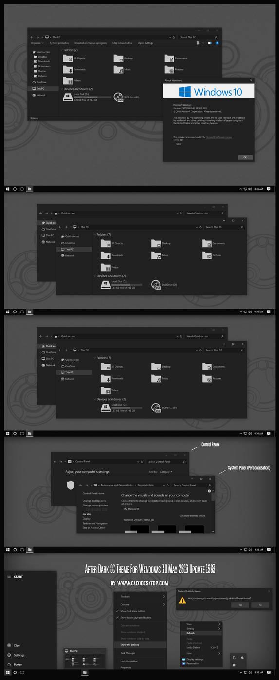 After Dark CC Theme Windows10 1903 by Cleodesktop