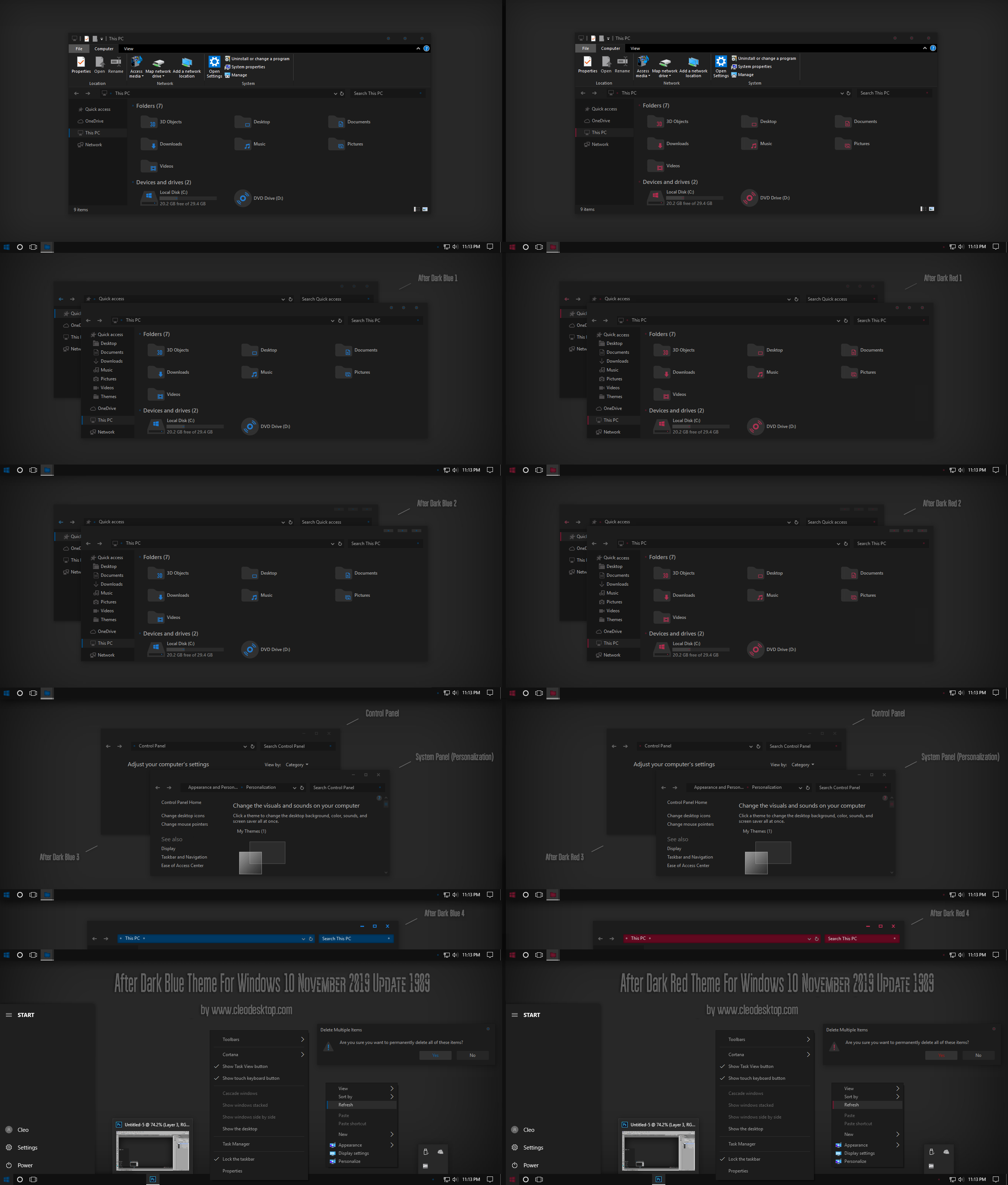 After Dark Blue and Red Theme ForWin10 Update 1909