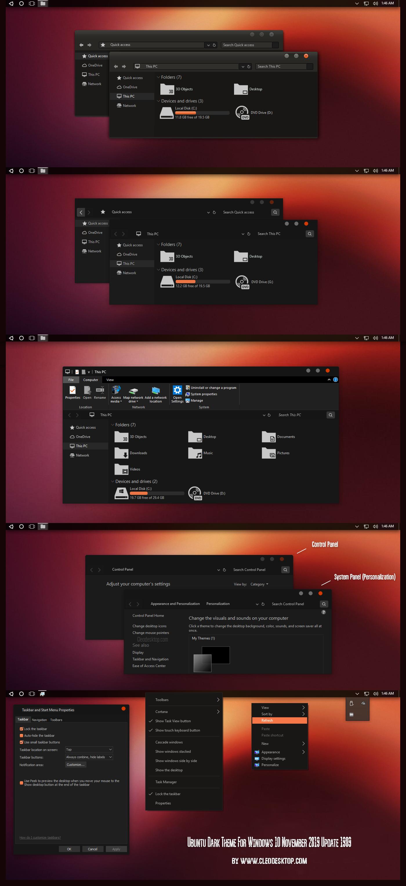 Ubuntu Dark Theme Win10 Update 1909