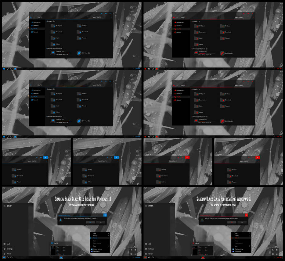 Shadow Black Glass Blue and Red Theme Win10 1909